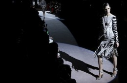 A model presents a creation from the Tom Ford Autumn/Winter 2013 collection during London Fashion Week