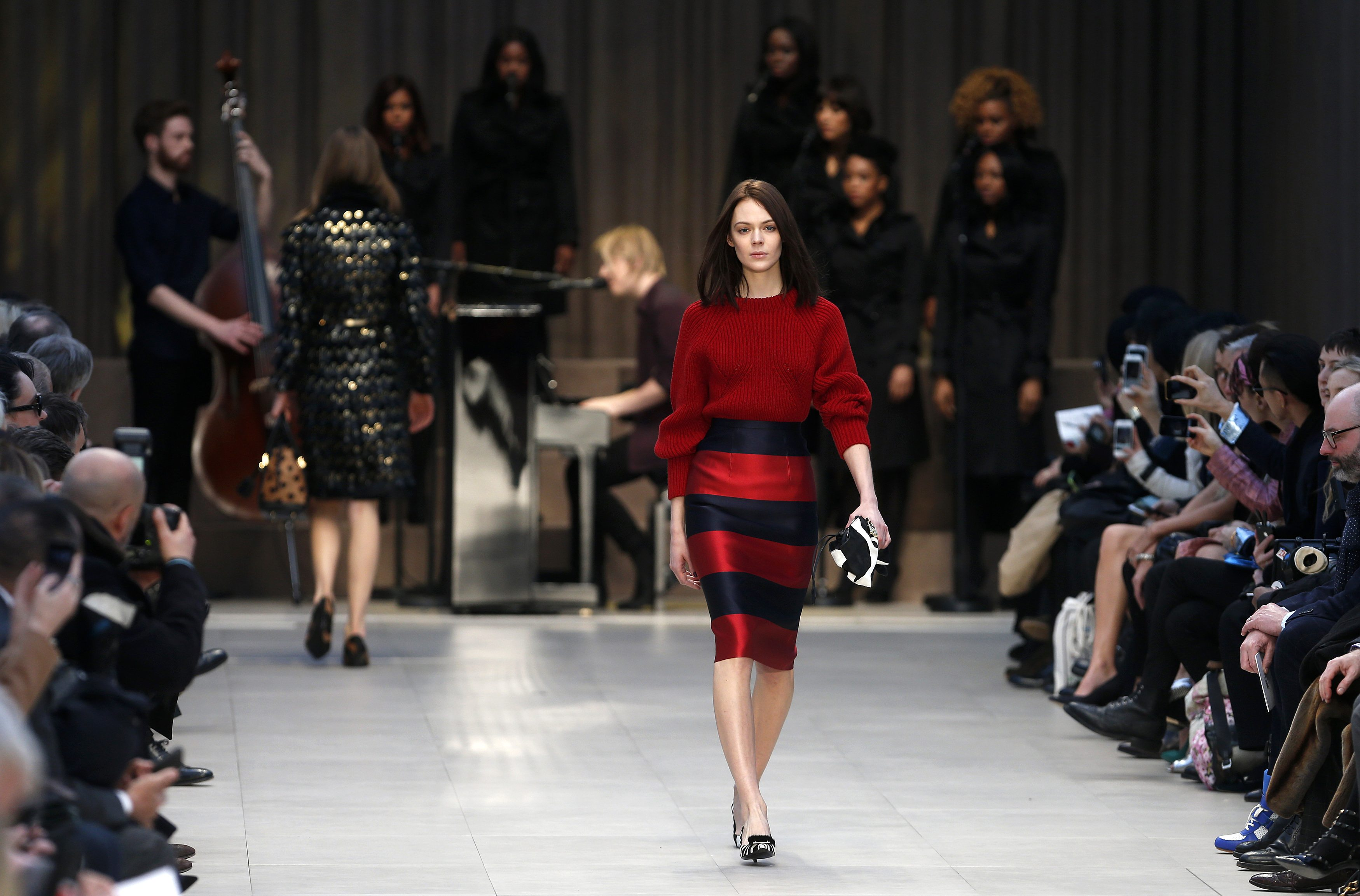 A model presents a creation from the Burberry Prorsum Autumn/Winter 2013 collection during London Fashion Week